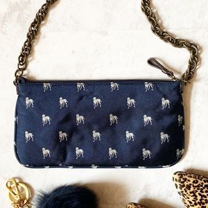 J. Crew Silk Mini Purse Shoulder Bag Navy Blue Dog
